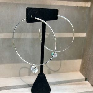 Jewelry - Large endless hoop earrings w cubic zirconia